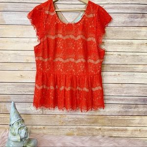 Anthropologie Maeve Katrine Peplum Red Lace Top